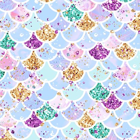 "Mermaid scales aqua glitter 1"" fabric by parisbebe on Spoonflower - custom fabric"