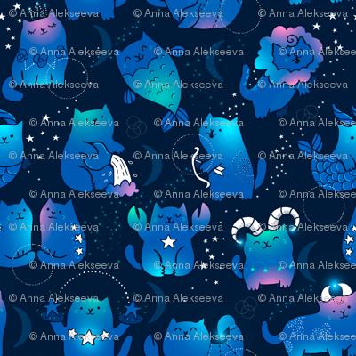 Cute cats zodiac pattern. Kawaii astrology animals design.