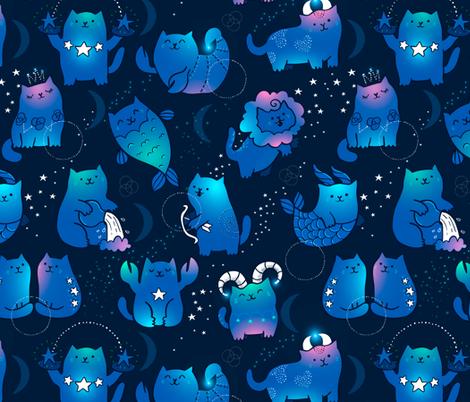 Cute cats zodiac pattern. Kawaii astrology animals design. fabric by kostolom3000 on Spoonflower - custom fabric
