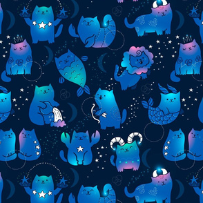Large Cute cats zodiac pattern. Kawaii astrology animals design. Big.