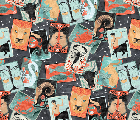 zodiac tarot fabric by michaelzindell on Spoonflower - custom fabric