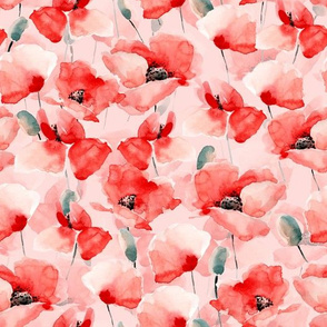"""10"""" Poppy - Hand drawn watercolor poppies on blush pink"""