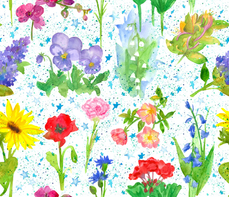 Flowers in Astrology  fabric by countrygarden on Spoonflower - custom fabric