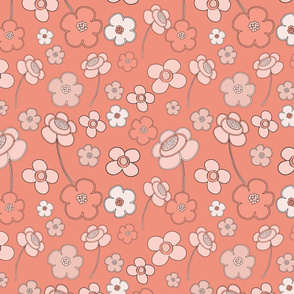 Coral Daisies Pattern