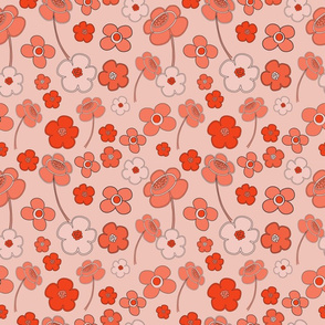 Peach Daisies Pattern