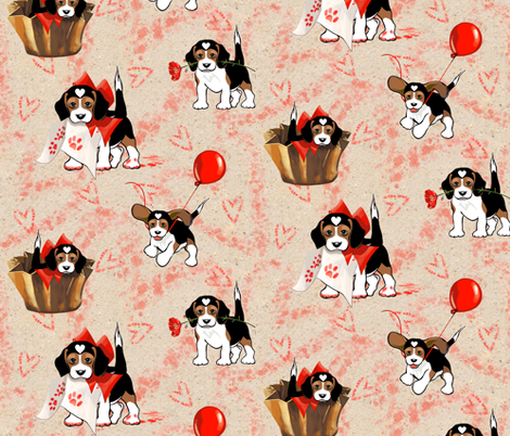 Be My Valentine? | Love Puppy | The Love Beagle fabric by southwind on Spoonflower - custom fabric