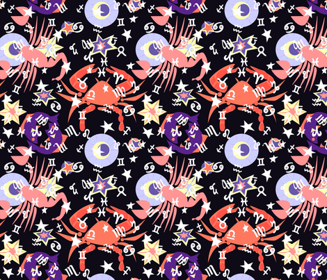 Water signs2 corals and purple fabric by lorloves_design on Spoonflower - custom fabric