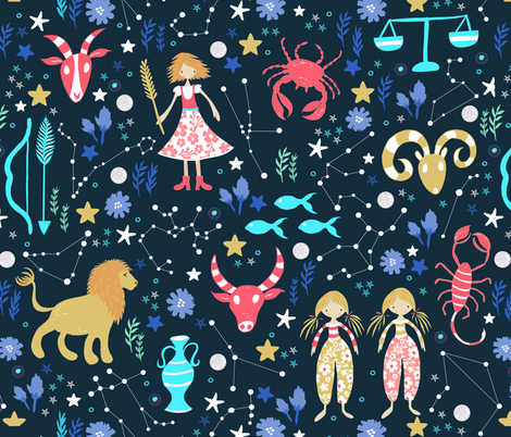 Astrology fabric by jill_o_connor on Spoonflower - custom fabric