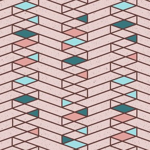 Stacked Lines Modern Minimal Pink // abstract minimalist pattern modern lines geometric triangle pink cream fabric