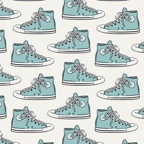 Retro Shoes - blue on light grey - Chucks