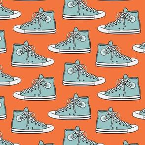 Retro Shoes - blue on orange - Chucks
