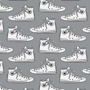 Retro Shoes - White on Grey - Chucks