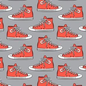 Retro Shoes - red on grey - Chucks