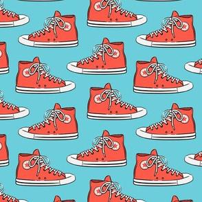 Retro Shoes - red on blue - Chucks