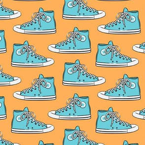 Retro Shoes - blue on orange 2 - Chucks