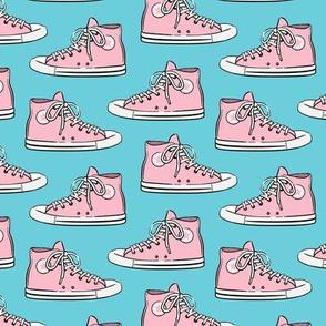Retro Shoes - pink on blue - Chucks