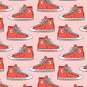 Retro Shoes - red on pink - Chucks