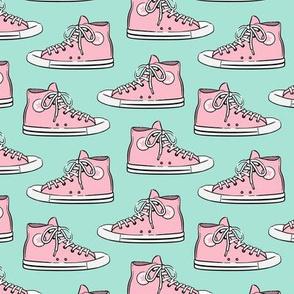 Retro Shoes - pink on aqua - Chucks
