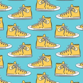 Retro Shoes - yellow on blue - Chucks