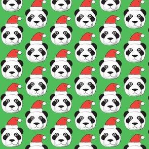 panda-faces-with-santa-hat-on-bright-green