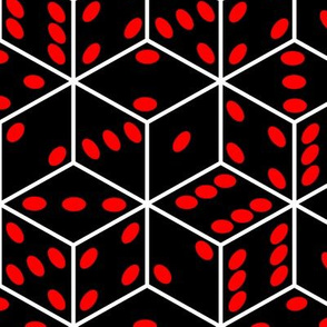dice black red pips