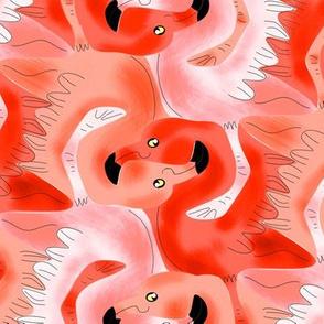 Tesselating Coral Flamingoes