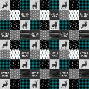 "2"" small scale - little man - teal and black (buck) quilt woodland C18BS"