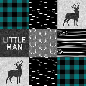 little man - teal and black (buck) quilt woodland C18BS