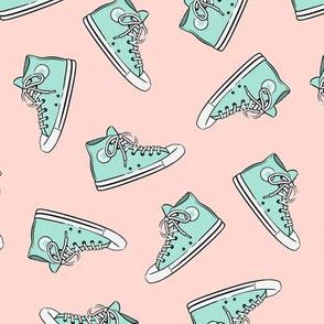 Retro Shoes - aqua on pink toss - Chucks