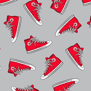 Retro Shoes - red on grey toss - Chucks