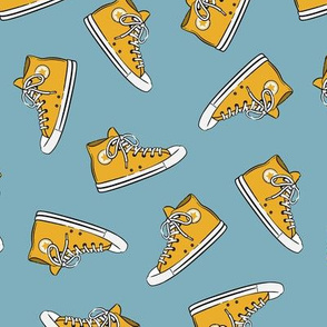 Retro Shoes - mustard on dusty blue toss - Chucks