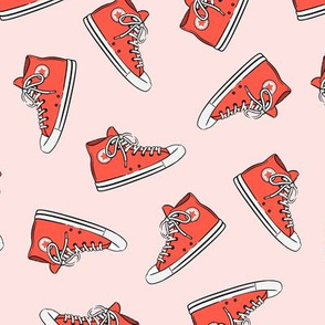 Retro Shoes - red on pink toss - Chucks