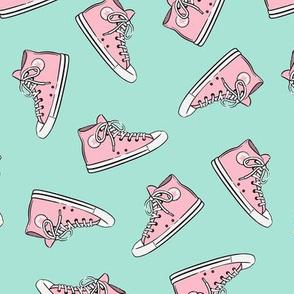 Retro Shoes - pink on aqua toss - Chucks