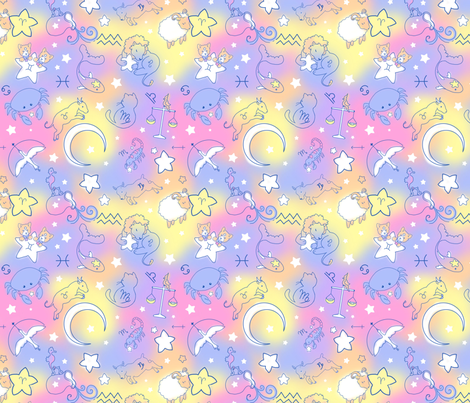 Astrology Animals fabric by lemon_chiffon on Spoonflower - custom fabric