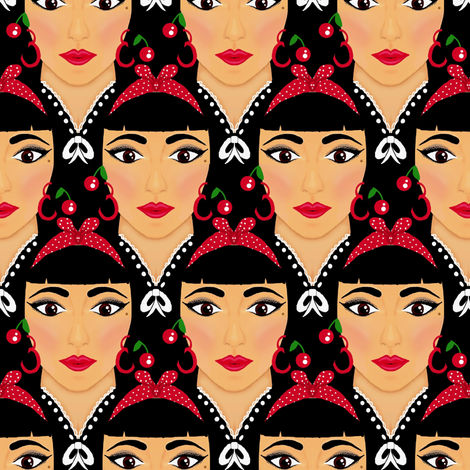 Lipstick & Cherries / Wild  fabric by franbail on Spoonflower - custom fabric