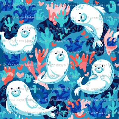 Romantic fluffy seals