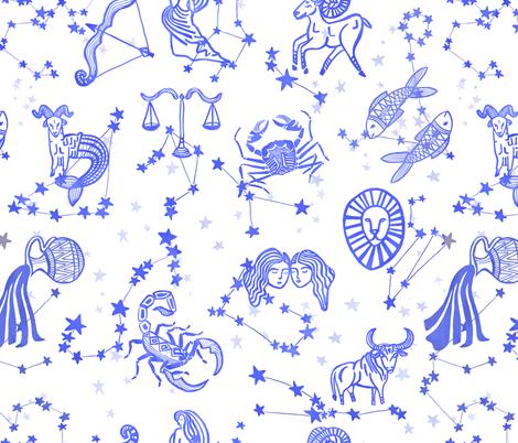 Blue Astrology Zodiac Signs fabric by nicoleevelyn on Spoonflower - custom fabric
