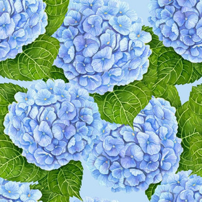 Blue hydrangea watercolor pattern