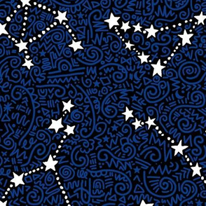 White and blue zodiac - detailed - larger scale