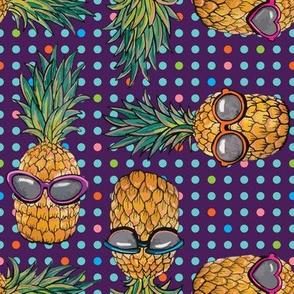 Pineapple on Purple Polka Dots