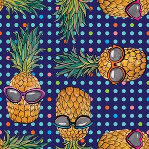 Pineapple with blue polka dots