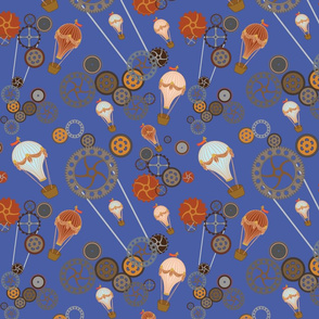 Air ballons and Steampunk gears in Blue