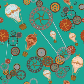 Air ballons and Steampunk gears in Teal