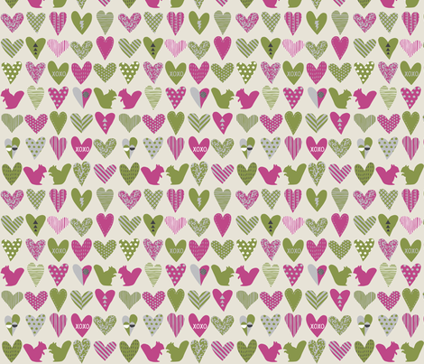 Squirrels in Love Small fabric by dalymadecraft on Spoonflower - custom fabric
