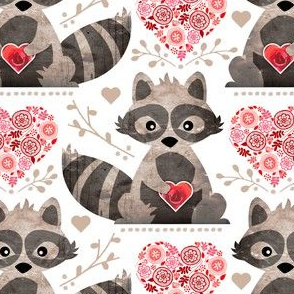 Raccoon's Valentine - Pink & Red
