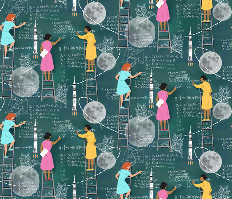 Calculating the Moon fabric by vinpauld on Spoonflower - custom fabric