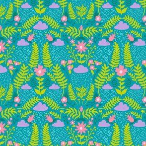 Rainy Day Ferns - Teal