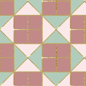 Light pink & mint green tiles with gold foil