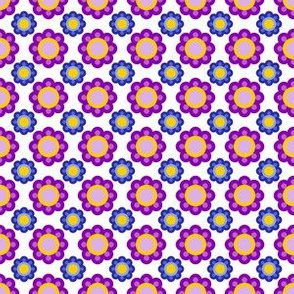 70s flowers violet yellow