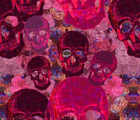 Rockabilly sculls on pink roses fabric by snarets on Spoonflower - custom fabric